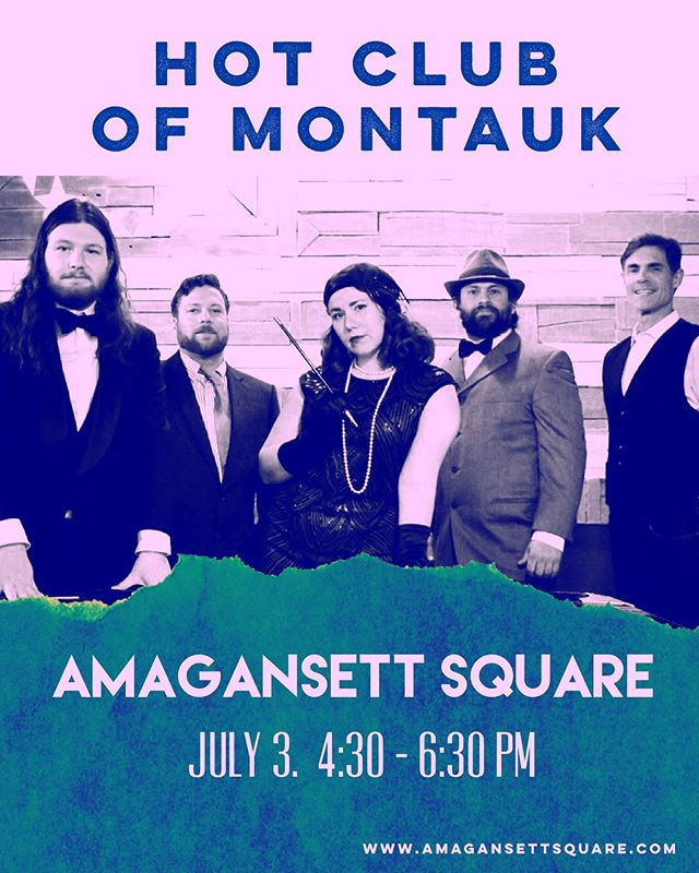 🌸Join us this Wednesday for the first of our a Amagansett Square sunset sessions🌸 bring a blanket and some vino and chill on the green while we serenade you with some gypsyjazz #summer #sunset #livemusic #hamptons