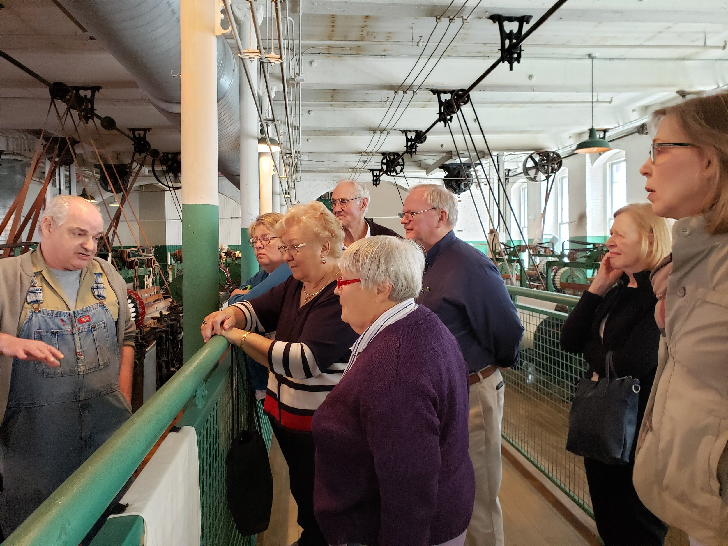 - St. John seniors enjoying a visit to the Boott Mill Museum in Lowell and a lunch.