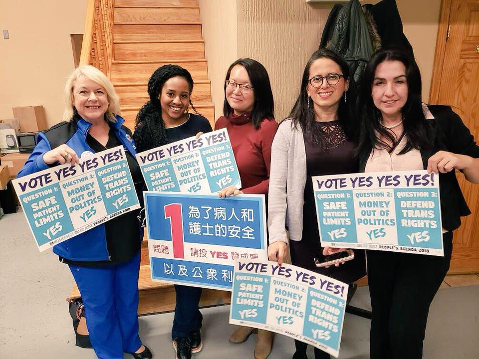 We're on the team fighting for justice— Donna, Wambui, Lily, Dee and Gladys!!  #Yeson1  #SafePatientLimits   #Yeson2   #Yeson3   #TransLawMA @PatientSafetyMA @Freedom_Mass #PeoplesAgenda  @MassJwJ @MassNurses
