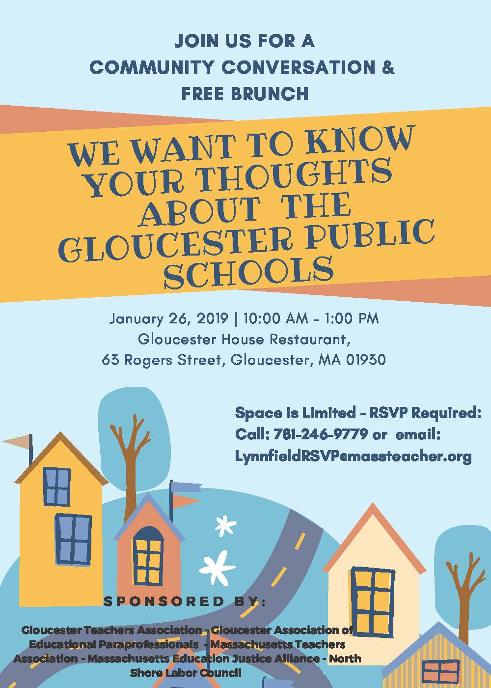 Image Description: Gloucester Teachers Association We Want to Know your Thoughts about the Gloucester Public Schools. Space is Limited RSVP required 781-246-9779 or LynnfieldRSVP@massteacher.org