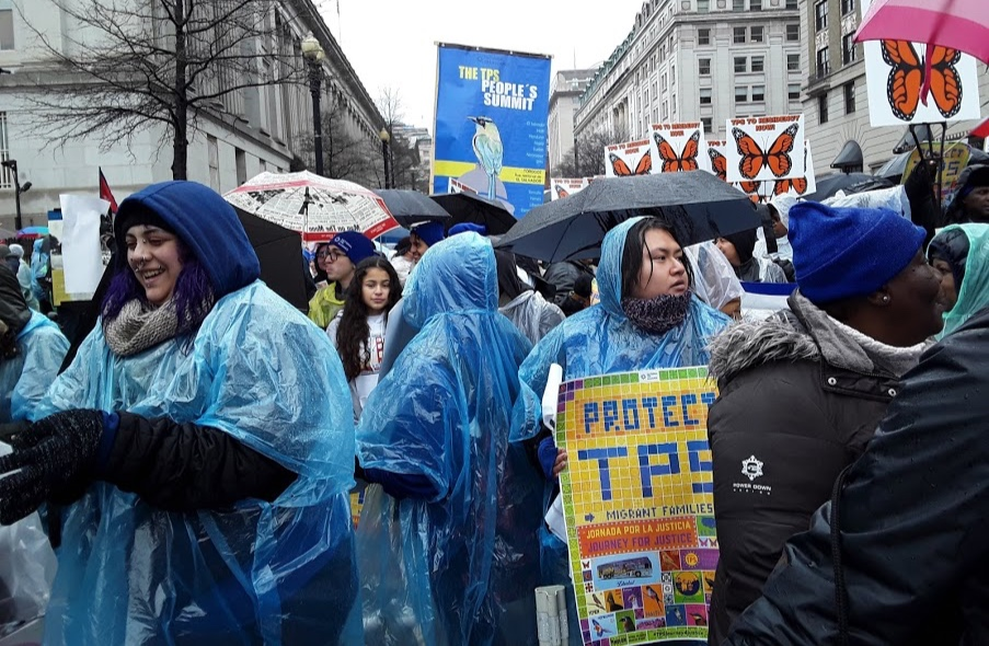 Pouring rain during TPS march from the White House to the Russel Senate Building