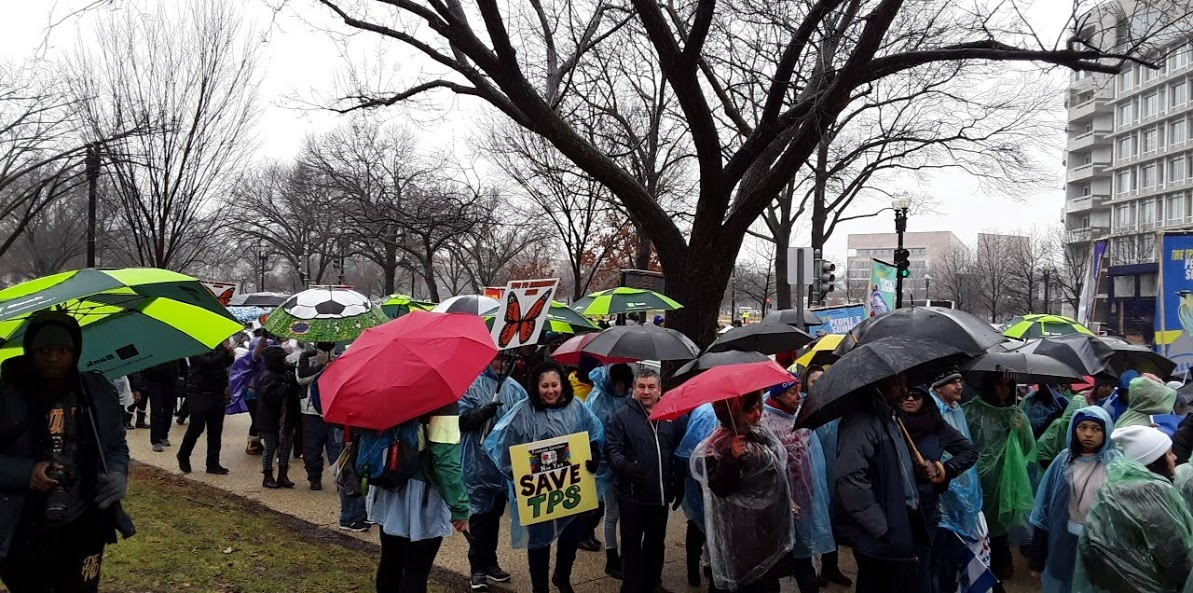 Marchers gathering outside Russell Senate office building at the end of the march.
