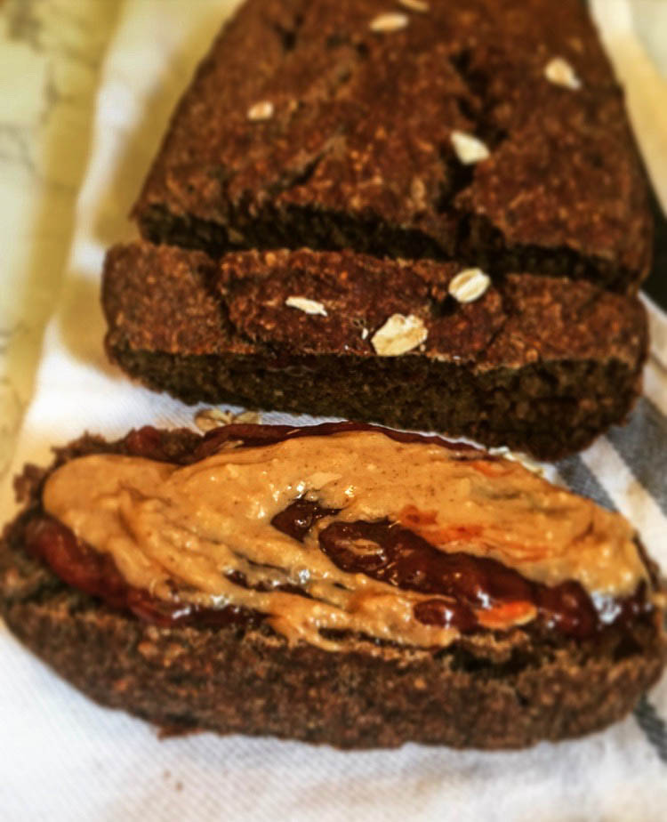 Dessert? Snack? - This natural banana bread is low in added sugar, and thus can double as a snack or a dessert if it's spiced up with a little jam + nut butter!