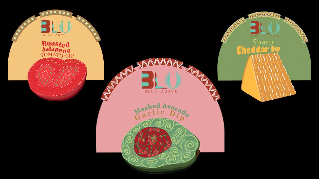 Restaurant Product Design Front Labels), Rendered in Adobe Illustrator
