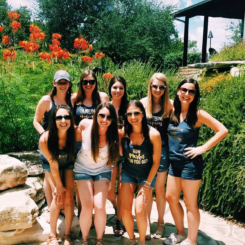 Bachelorette party at Fall Creek Vineyards in Driftwood