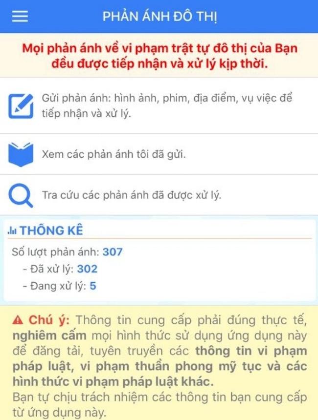 Giao diện tính năng phản ánh đô thị của quận Tân Phú