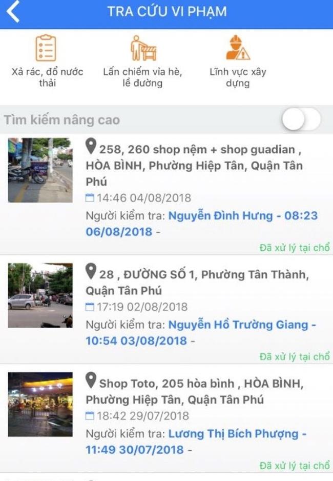 Các trường hợp đã được xử lý ở quận Tân Phú: đã có 307 trường hợp phản ánh, và 302 trong đó đã được xử lý xong