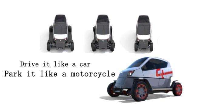 """""""Tiện nghi nhưô tô nhưng nhỏ gọn và dễ tìm chỗ đậu như xe máy"""" chính là  mục tiêu của chiếc xe hơi có khả năng thu nhỏ diện tích đầu tiên trên  thế giới"""