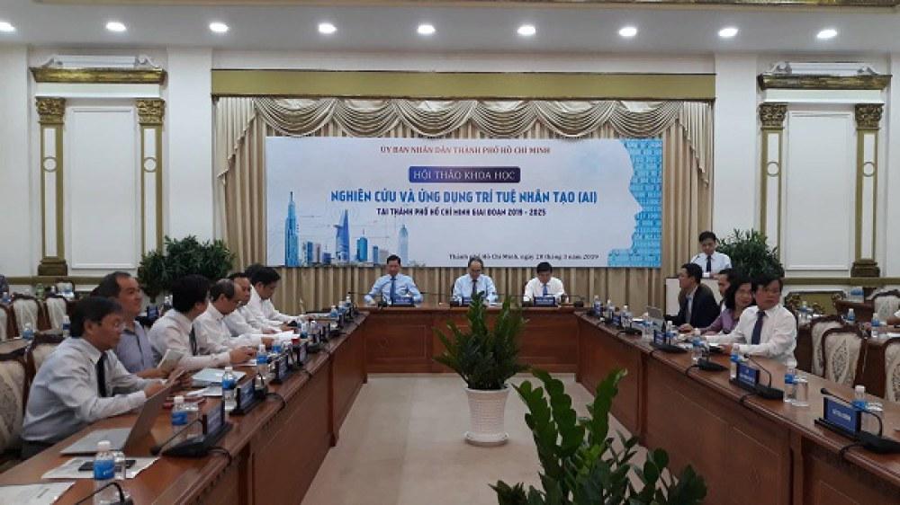"""Hội thảo khoa học """"Nghiên cứu và ứng dụng trí tuệ nhân tạo (AI) tại Thành phố Hồ Chí Minh giai đoạn 2019 – 2025"""" là hội thảo đầu tiên trong chuỗi 3 hội thảo dự kiến sẽ tổ chức trong năm 2019 nhằm xây dựng Đề án """"Xây dựng hệ sinh thái ứng dụng trí tuệ nhân tạo (AI) tại TP.HCM giai đoạn 2019 - 2025"""""""