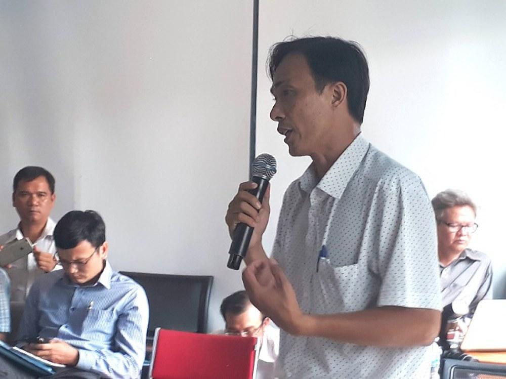 Ông Trần Ninh Đông chia sẻ về vấn đề sao chép sáng kiến tại hội nghị. Ảnh: Hà Thế An.