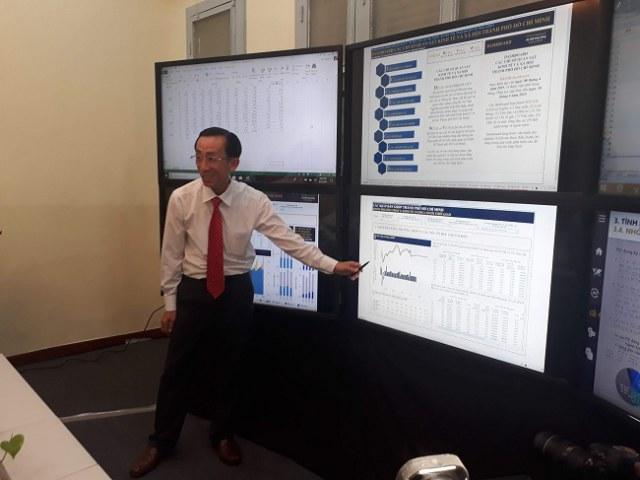 PGS.TS Trần Hoàng Ngân chia sẻ dự báo các chỉ số kinh tế xã hội TP.HCM tại khu vực điều hành Trung tâm. Ảnh: Hà Thế An.