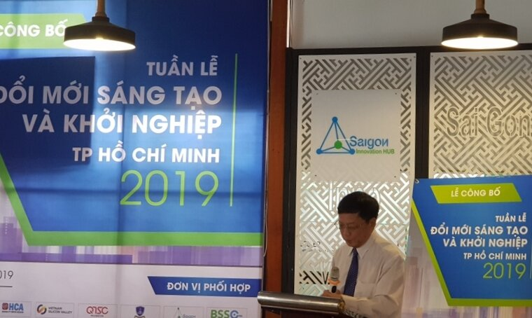 Ông Nguyễn Khắc Thanh, Phó Giám đốc sở Khoa học - Công nghệ TPHCM phát biểu tại buổi họp báo Tuần lễ Star up TPHCM 2019. Ảnh: Minh Thi.