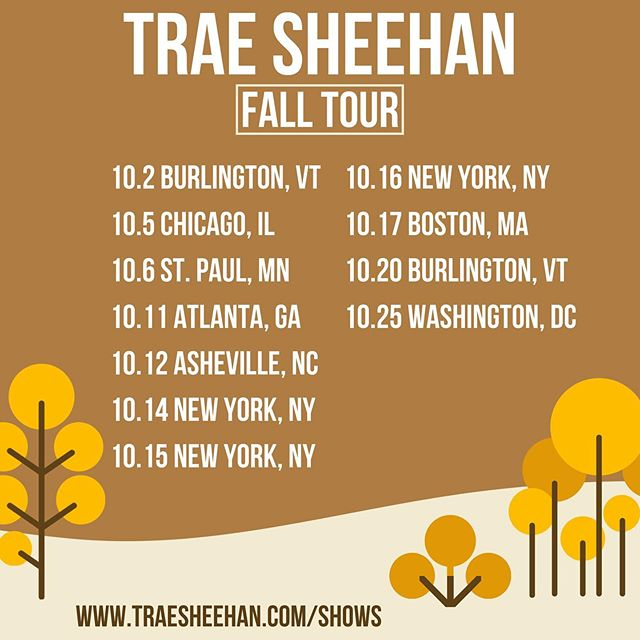 OCTOBER! This is my last tour for the year, so come out if you're around! . . . . . #fallfoliage #fall #autumn #october #falltour #arizona #newmusic #music #musician #tour #touringmusician #independentmusic #folk #folkmusic #americana #americanamusic #songwriter #sadboyamericana #nyc #atlanta #stpaul #minneapolis #chicago #illinois #asheville #ashevillenc #nc #boston