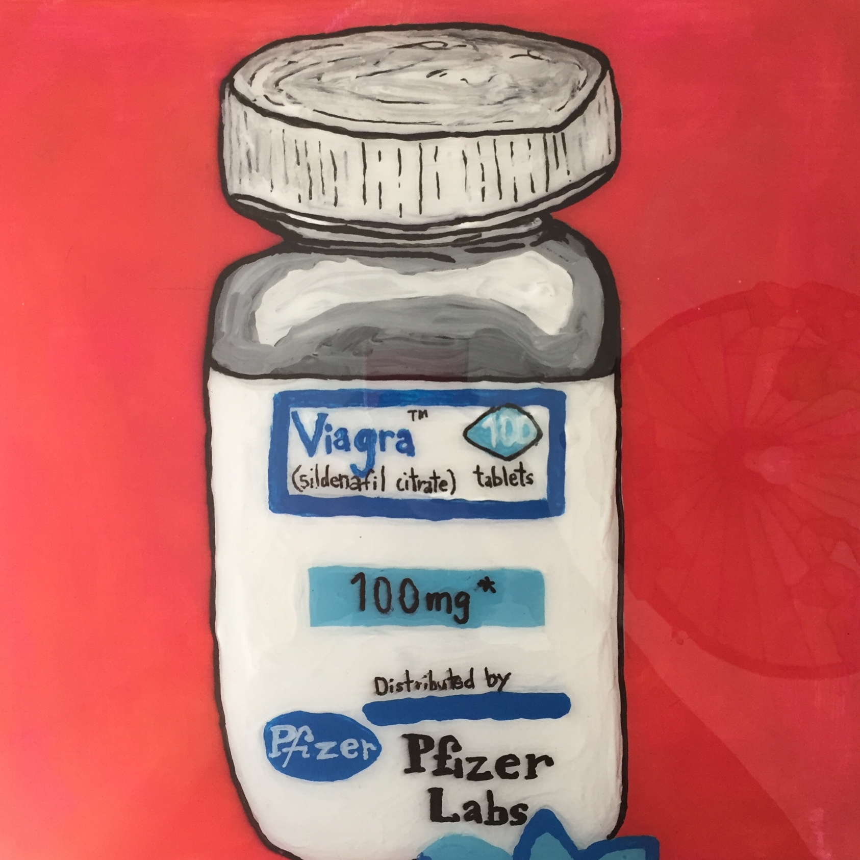 "PHARMA SERIES: VIAGRA #2 acrylic, sharpie and epoxy resin on canvas, 12"" X 12"" -2017  SOLD"