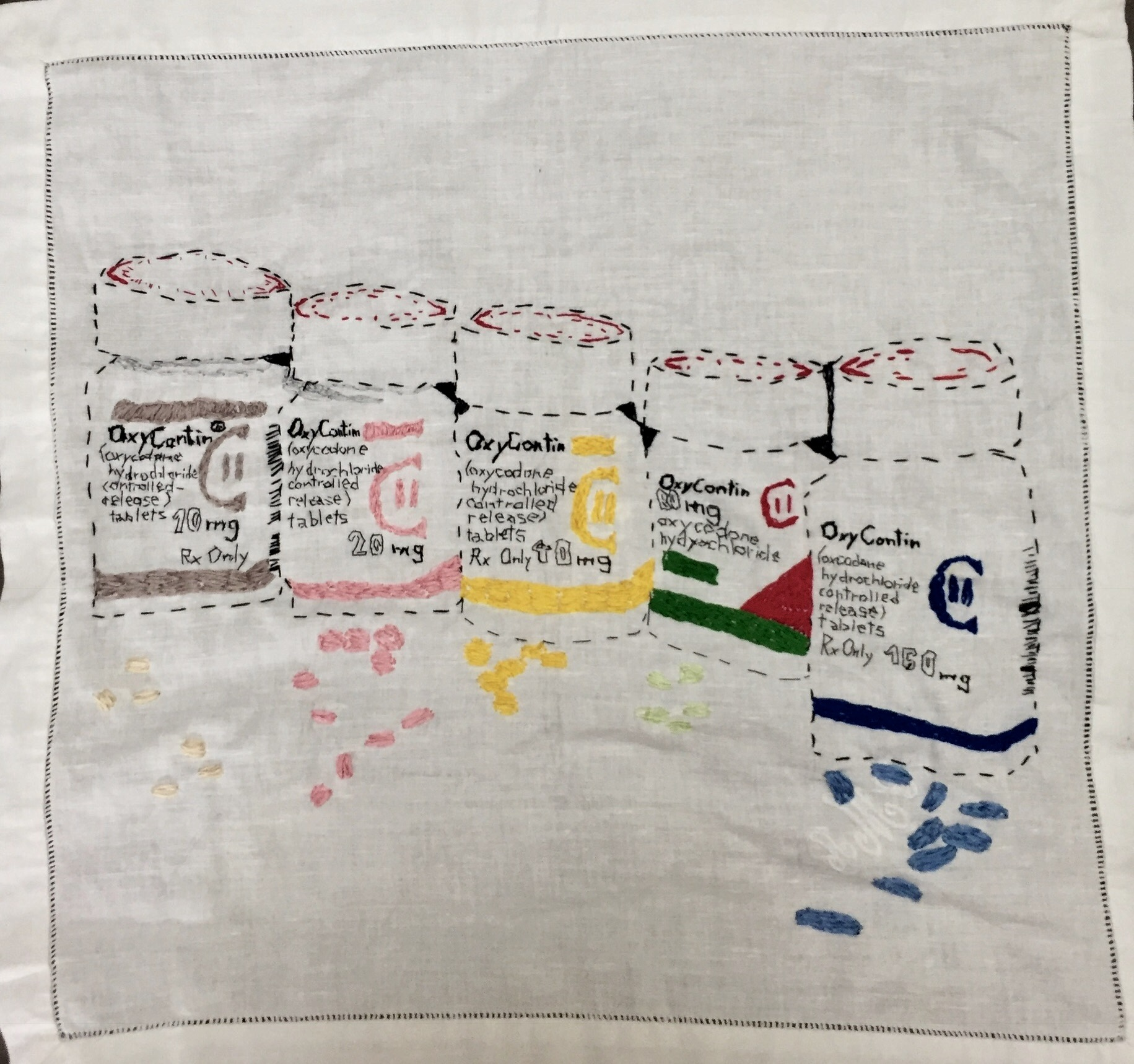 PHARMA SERIES: OXYCONTIN embroidery on a vintage linen napkin (FRAMED) -2017 $1500