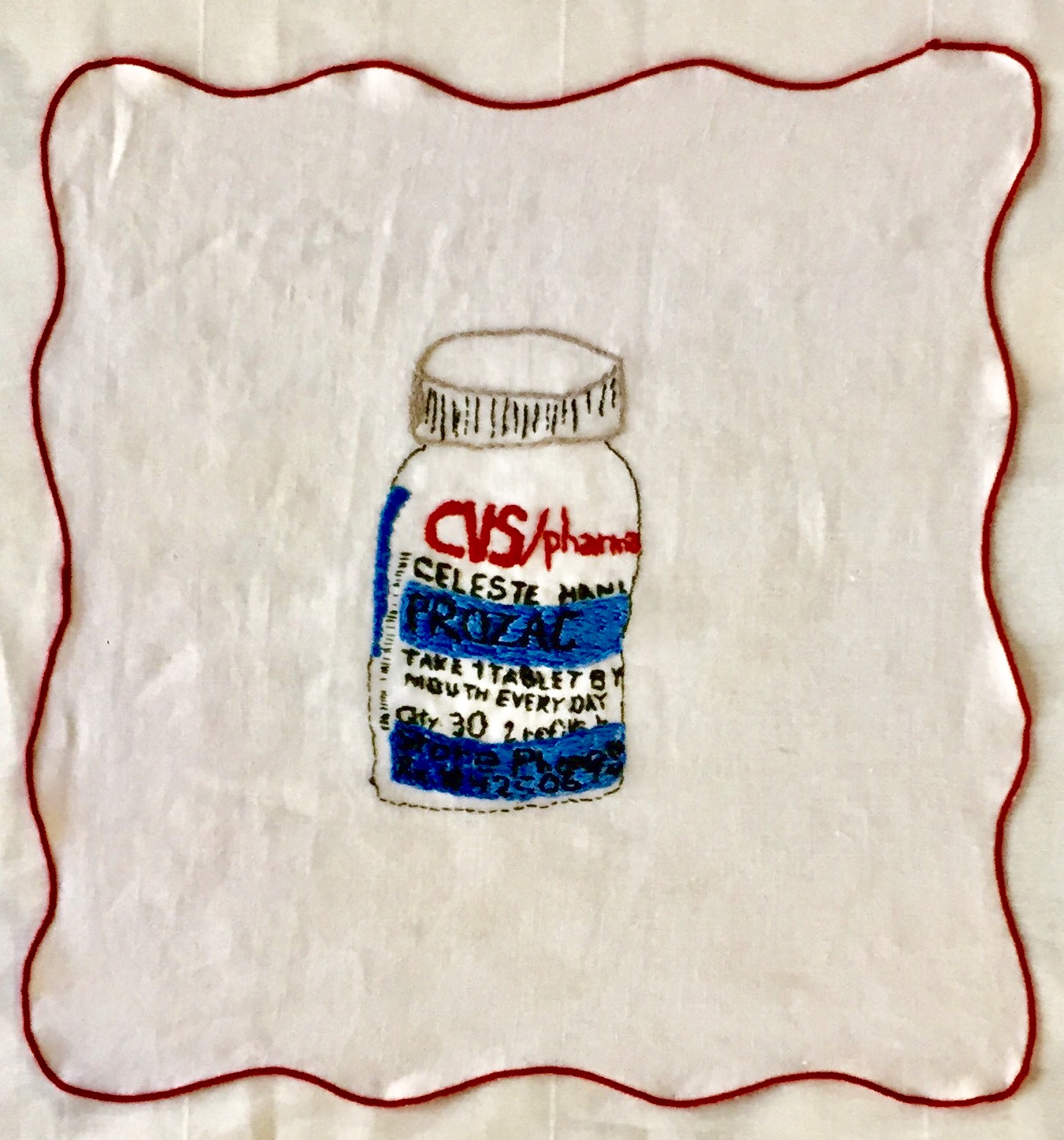 PHARMA SERIES: PROZAC-embroidery on a vintage linen napkin-2017, SOLD