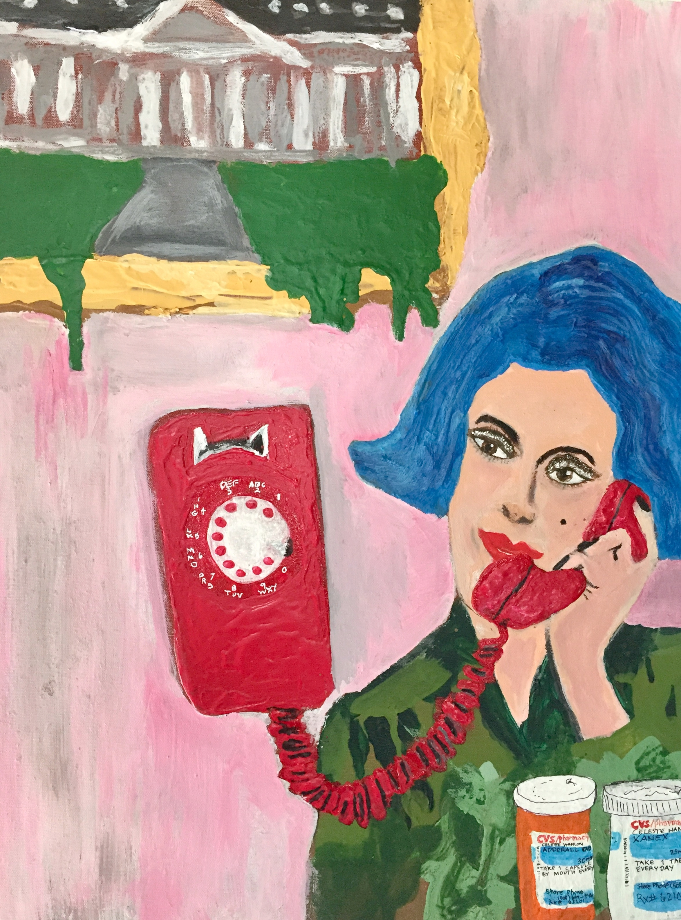 "THE RED PHONE-ACRYLIC-24""X 36""-2016 $2000"
