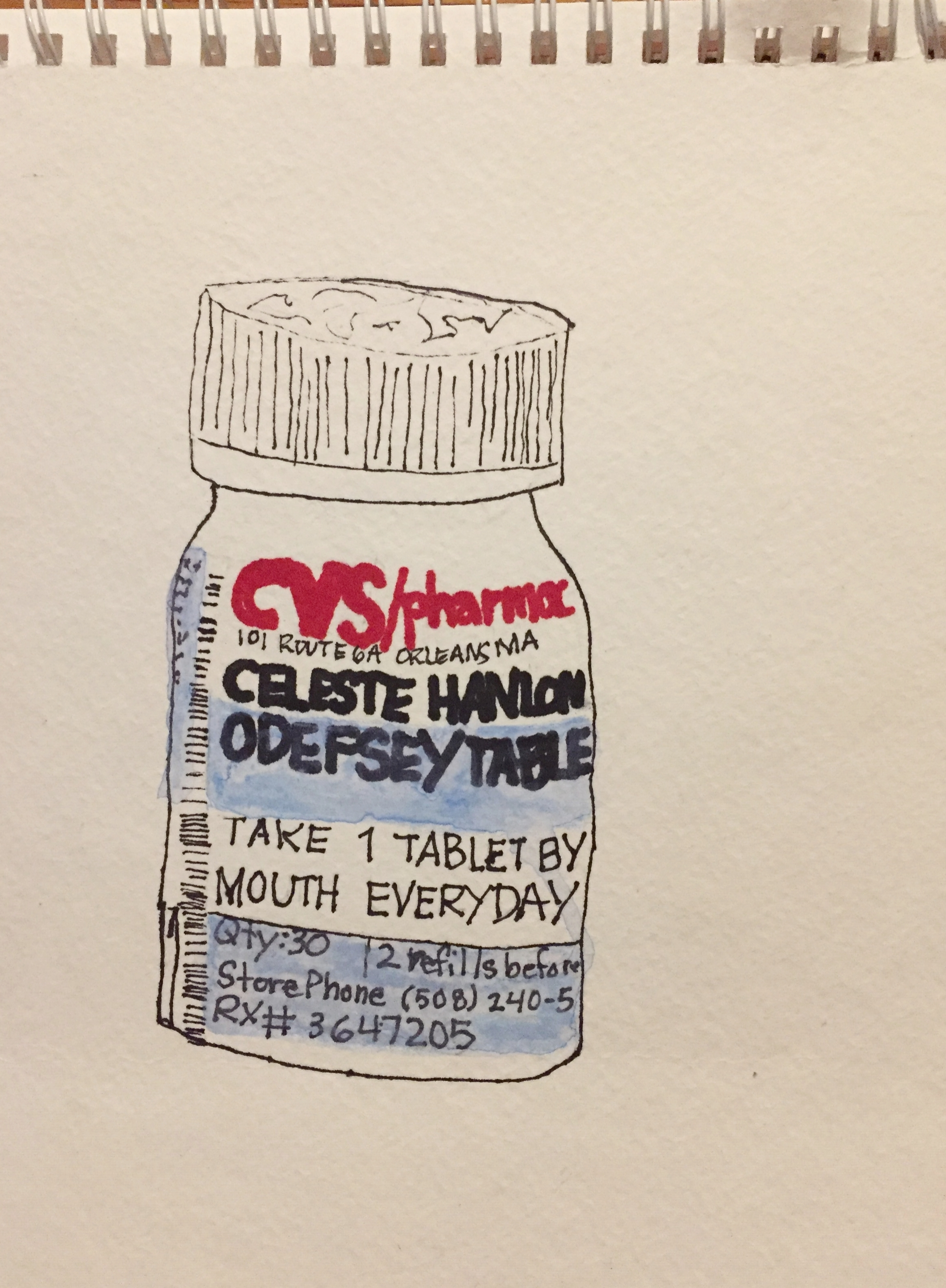"PHARMA SERIES: ODEFSEY-PEN AND INK ON WATER COLOR PAPER-9"" X 11""-2017 $200"
