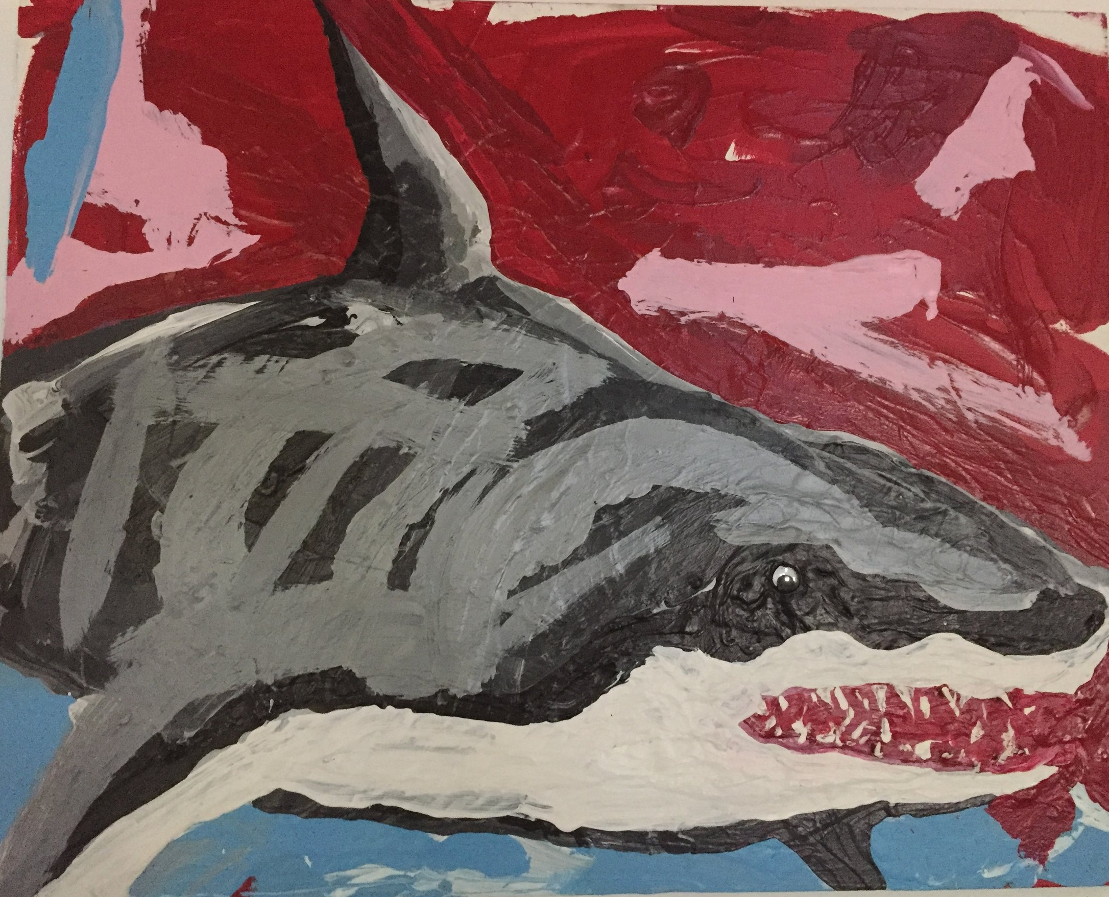 SUMMER FUN SERIES: GREAT WHITE SHARK-acrylic with googly eye and prehistoric shark teeth-2017 $450
