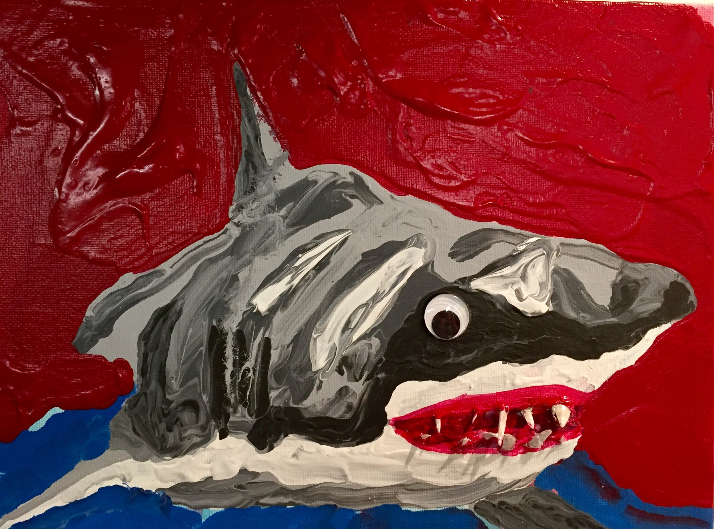 SUMMER FUN SERIES: GREAT WHITE SHARK #1 acrylic, googly eye and prehistoric shark teeth-2017-2017- $350