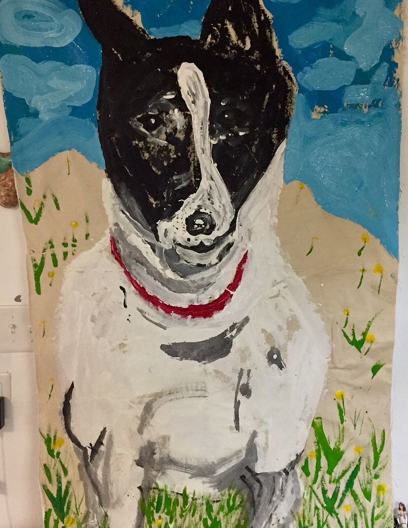 SUMMER FUN SERIES: ALFIE THE CAPE COD DOG-(in the dunes), acrylic/latex paint on canvas-2017-3'x 5' $2000