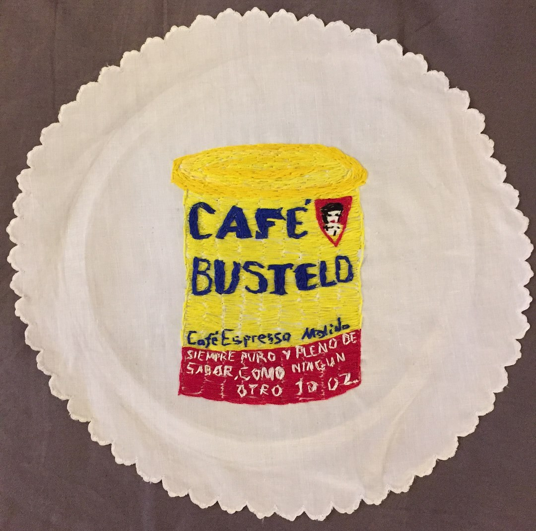 CAFFINATED: CAFE BUSTELO-embroidery on a vintage linen napkin- 2017 $350