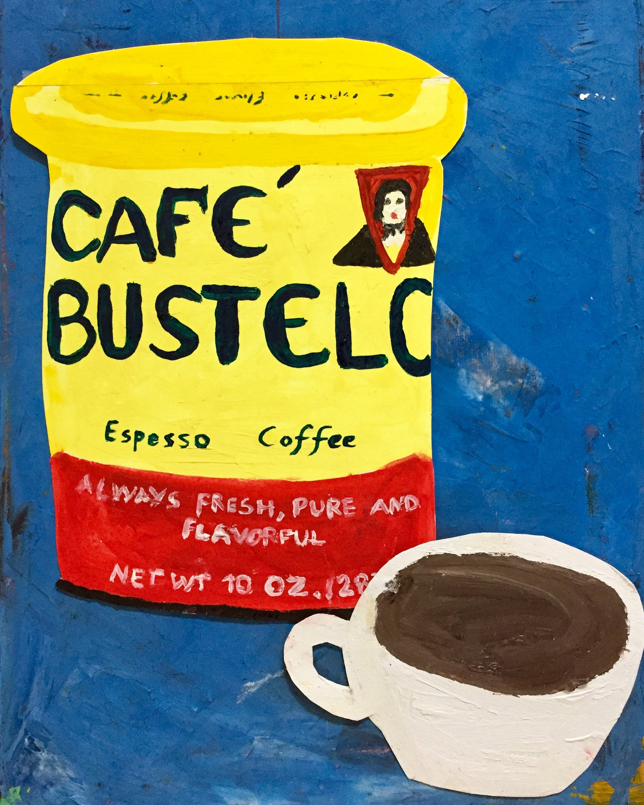 CAFFEINATED-CAFE BUSTELO-OIL/ACRYLIC COLLAGE ON CANVAS-2017 $450-SOLD