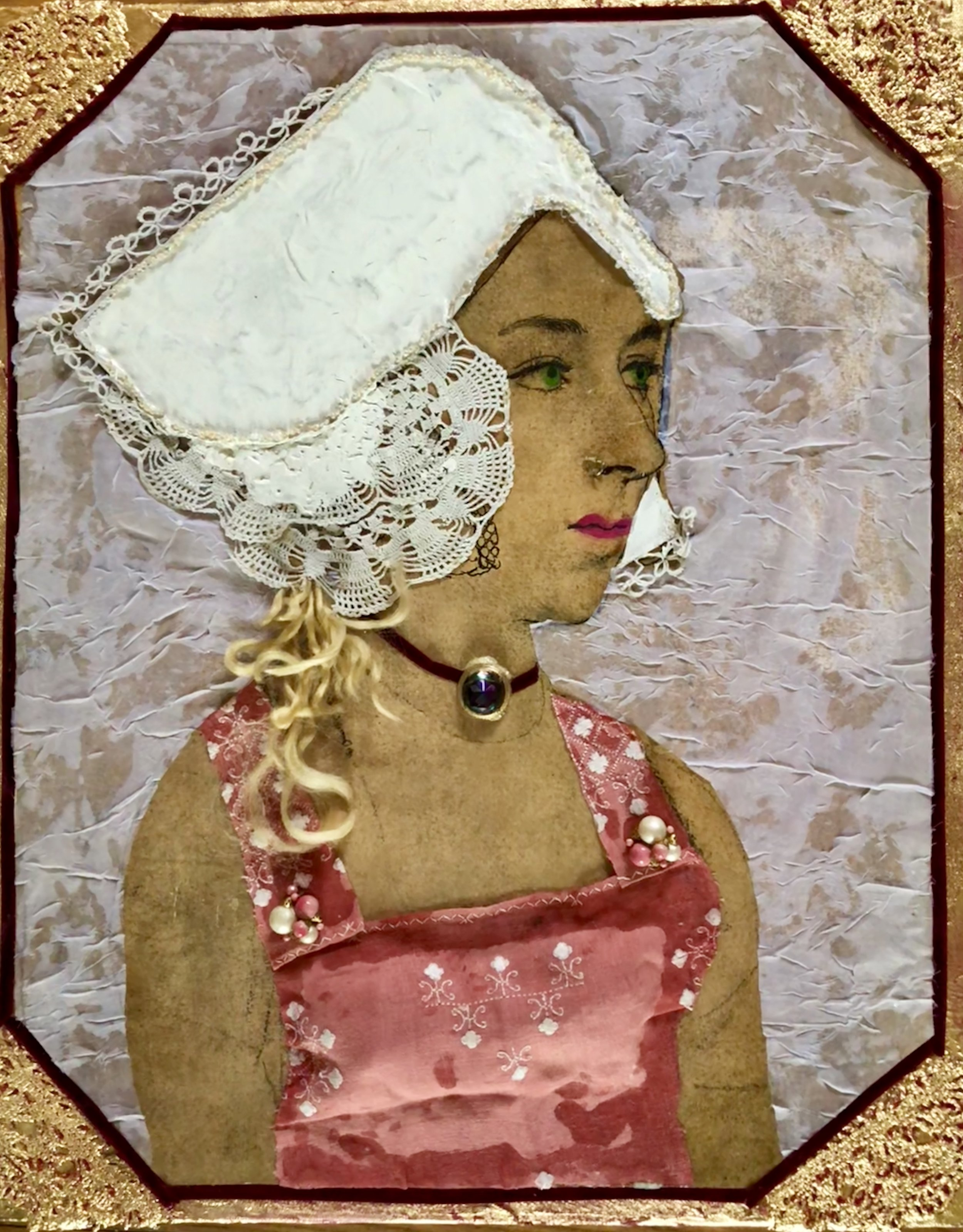 """ANNE BOLEYN'S REVENGE-COLLAGE-MIXED MEDIA (fabric, lace, paint, jewelry, gold leaf) 20"""" x 24""""-2017"""