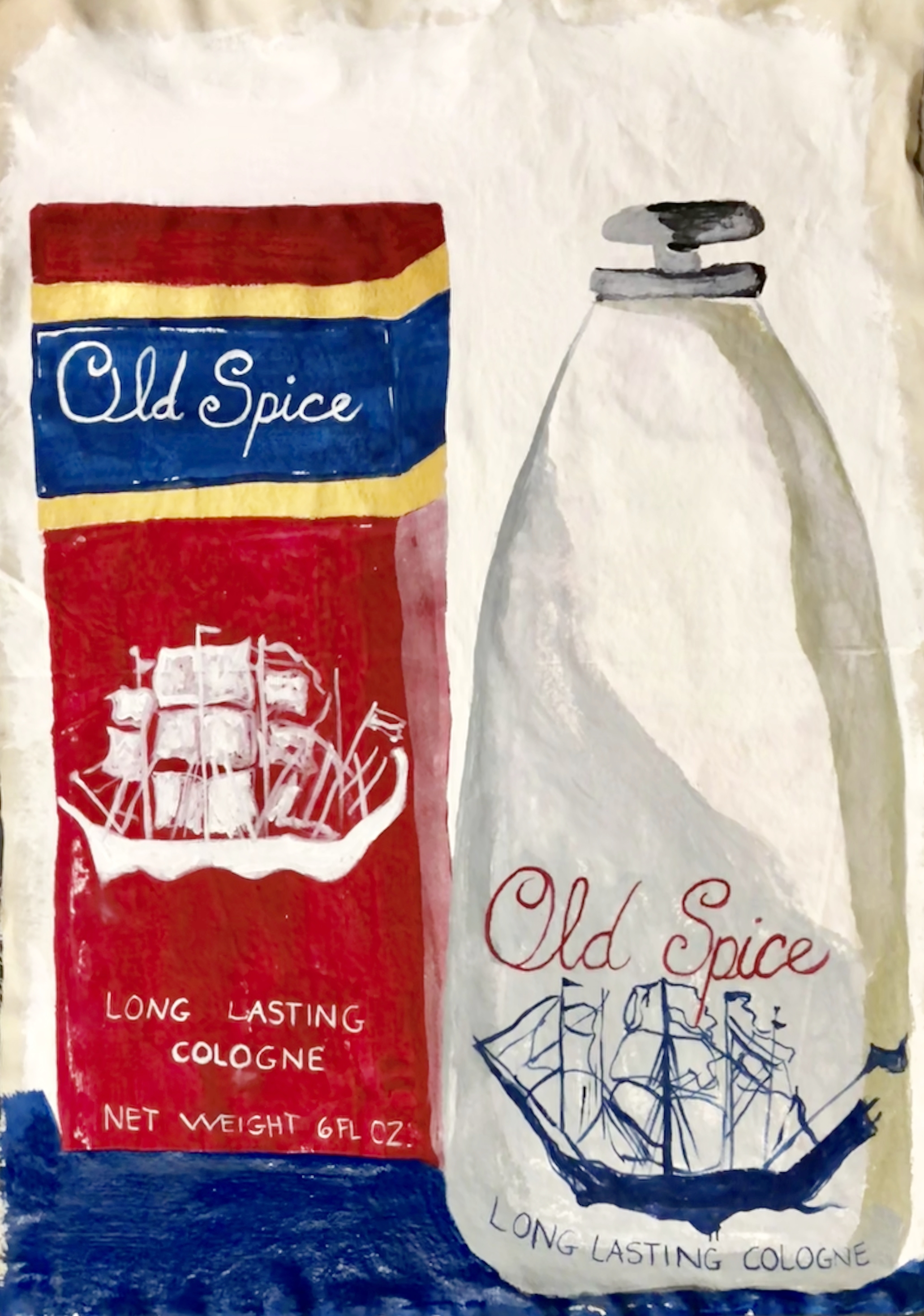 "COSMETICS SERIES-OLD SPICE-ACRYLIC ON CANVAS-42"" X 59""-2018 $3000"