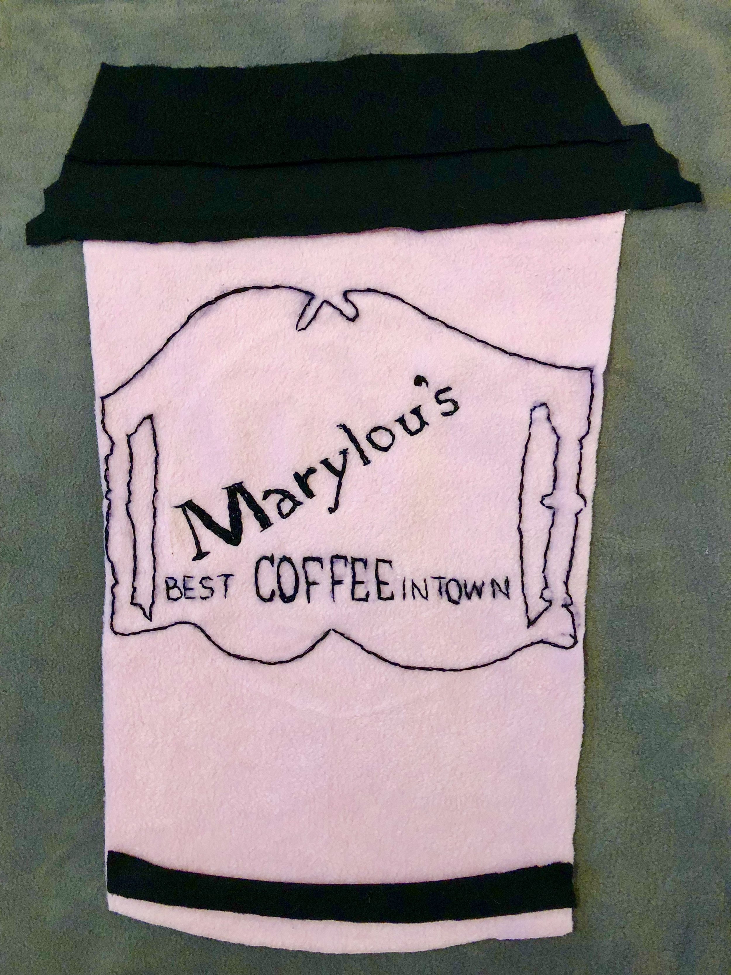 "BEST COFFEE IN TOWN-EMBROIDERY ON FLEECE-2018-18"" X 24"" $1200"