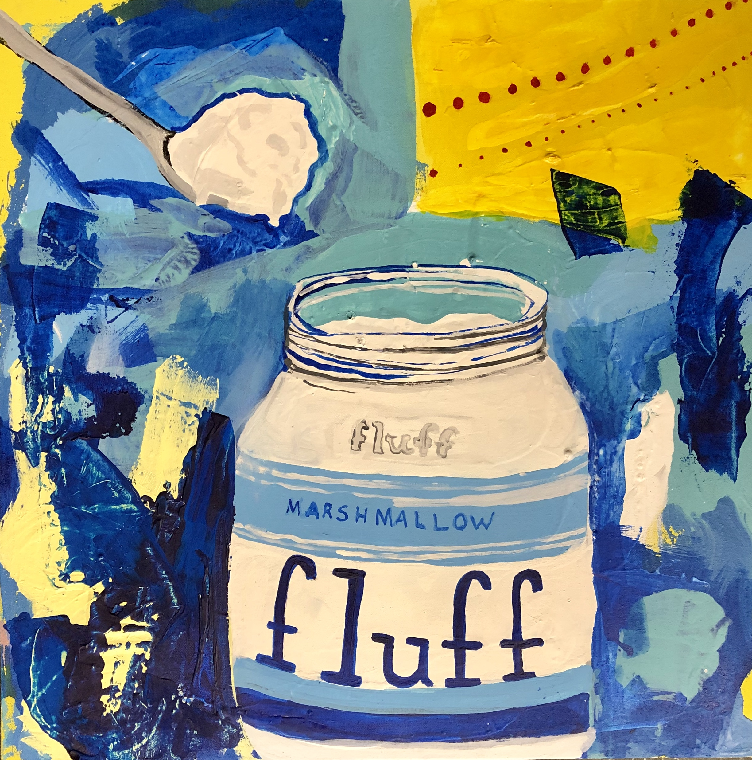 "CAMBRIDGE CANDY SERIES-MARSHMALLOW FLUFF-ACRYLIC ON CANVAS-2019-17"" X 17""-$500"