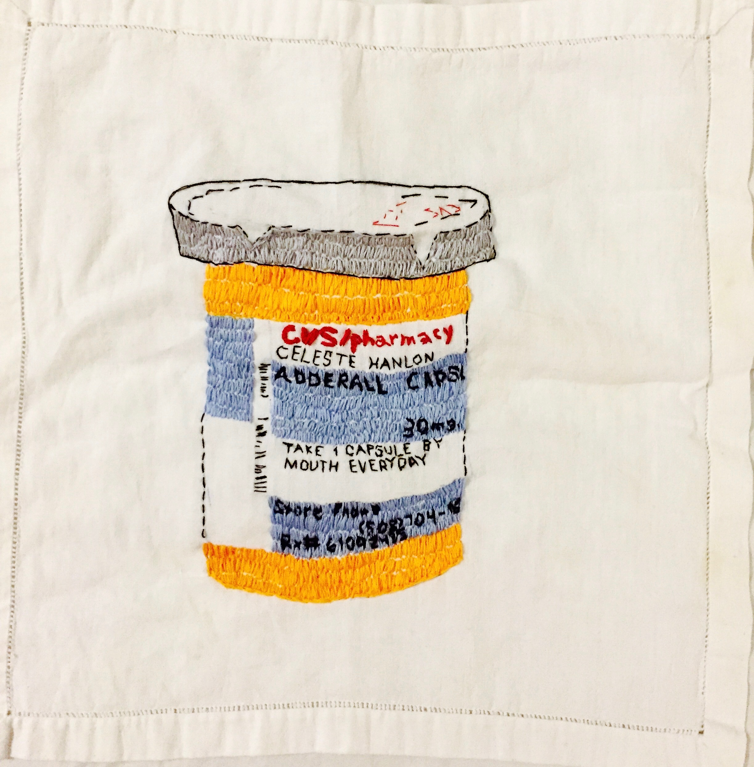 PHARMA SERIES-ADDERALL--EMBROIDERY ON A VINTAGE LINEN NAPKIN-24'X 36' 2018