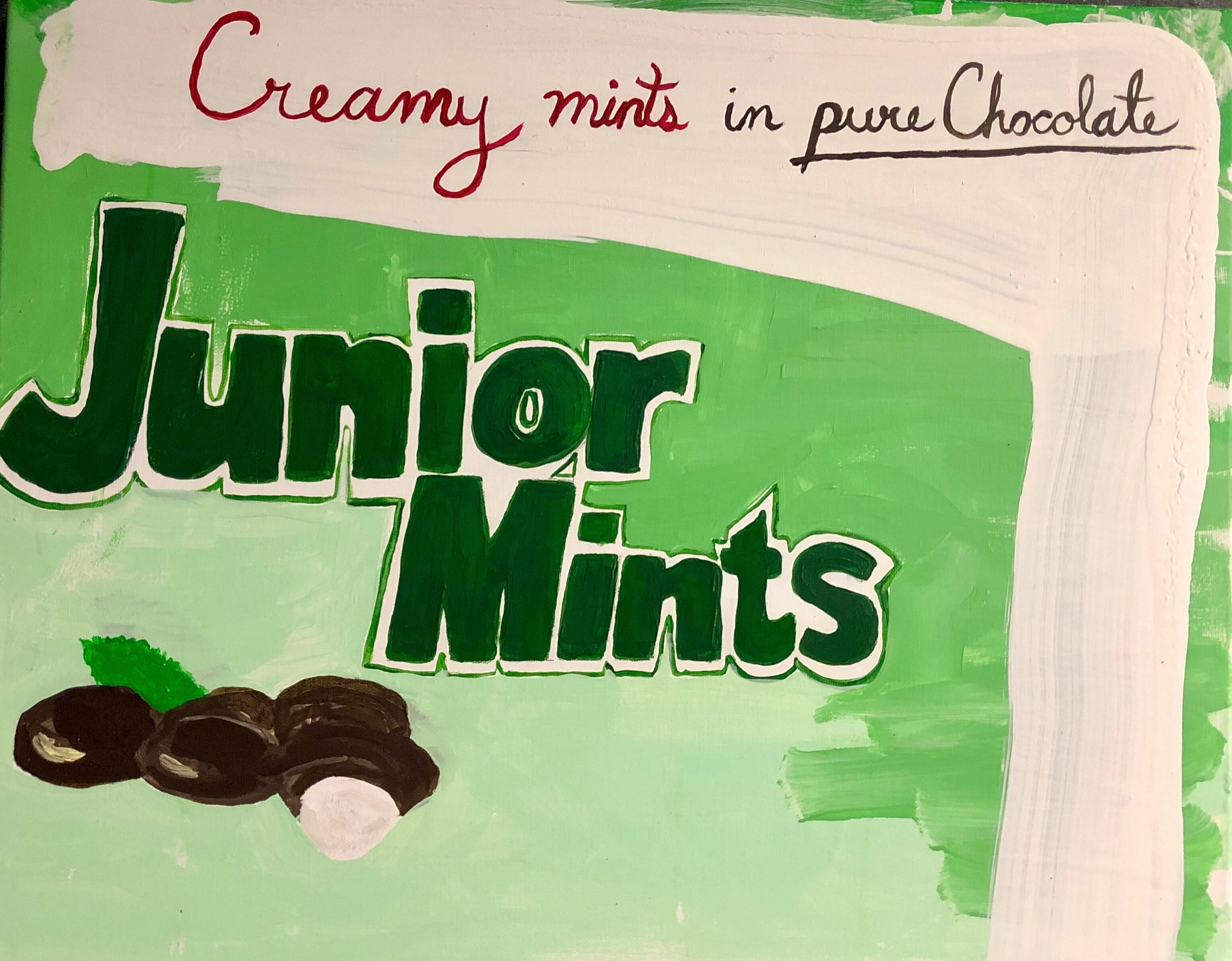 "CAMBRIDGE CANDY SERIES-JUNIOR MINTS-20"" X 16""-ACRYLIC ON CANVAS-2019-$350"