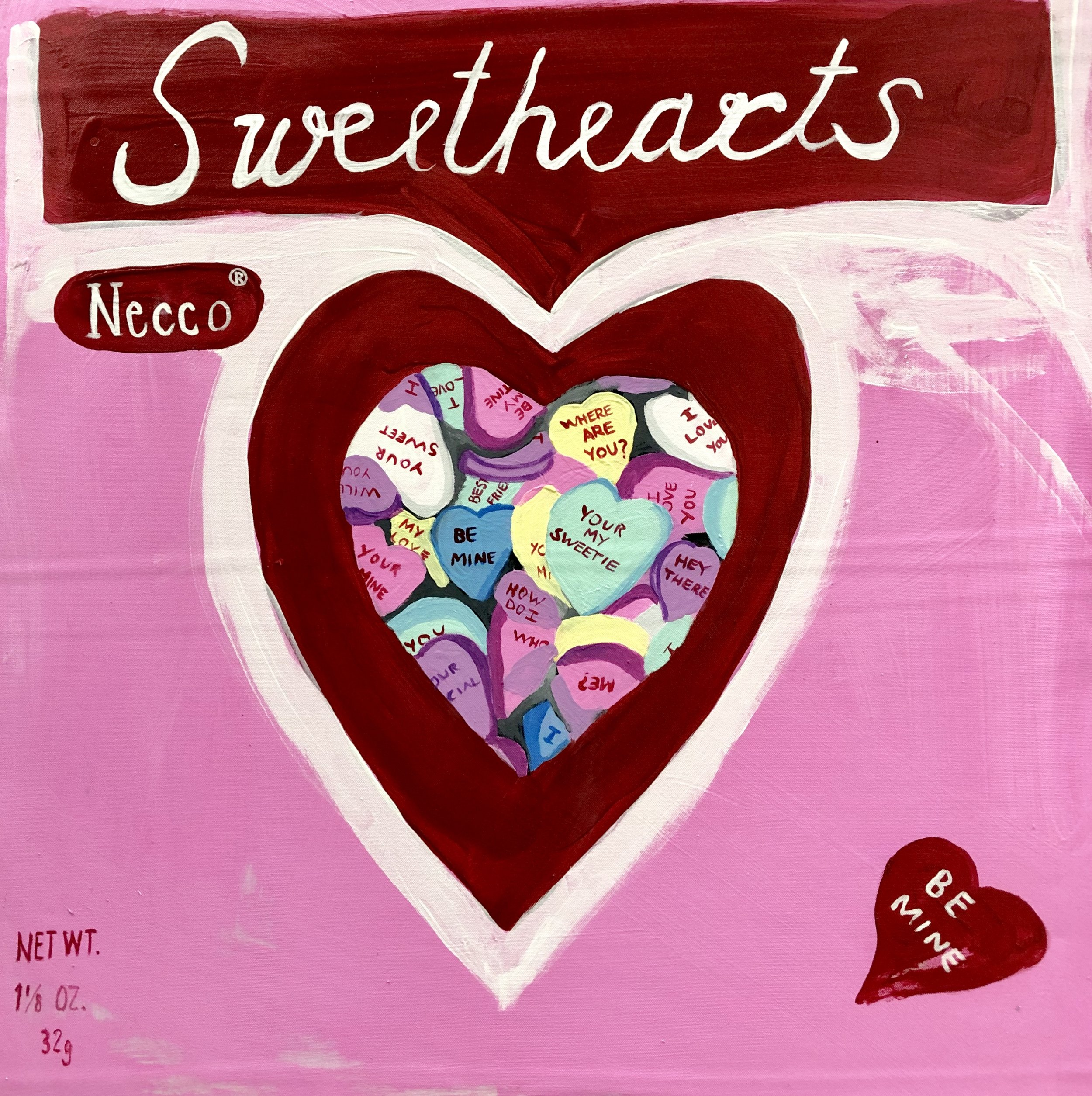 "CAMBRIDGE CANDY SERIES-SWEETHEARTS by NECCO-ACRYLIC ON CANVAS-20"" X 16""-2019"