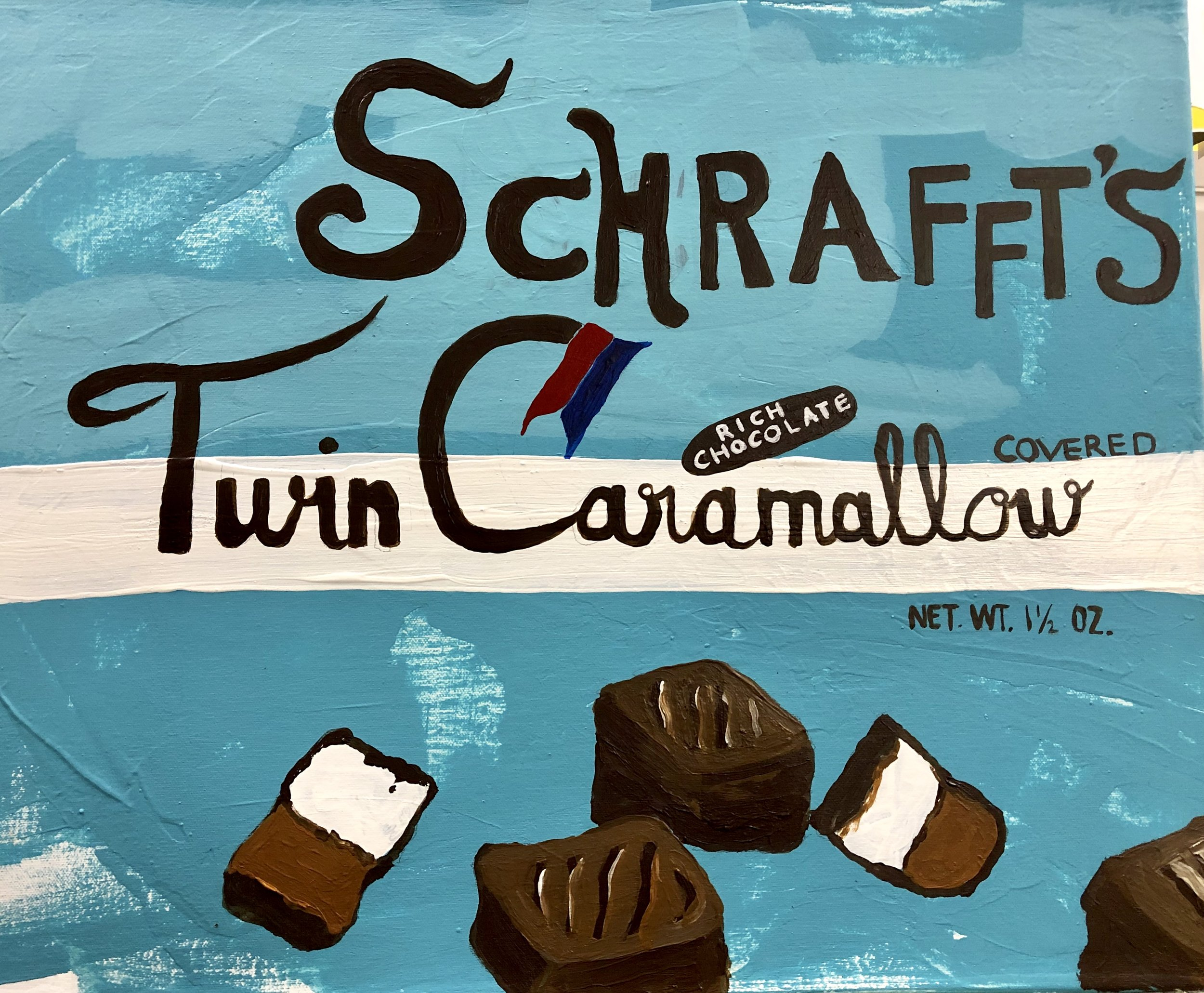 "CAMBRIDGE CANDY SERIES-SCHRAFFT'S TWIN CARAMALLOW-22"" X 18""-ACRYLIC ON CANVAS-2019"