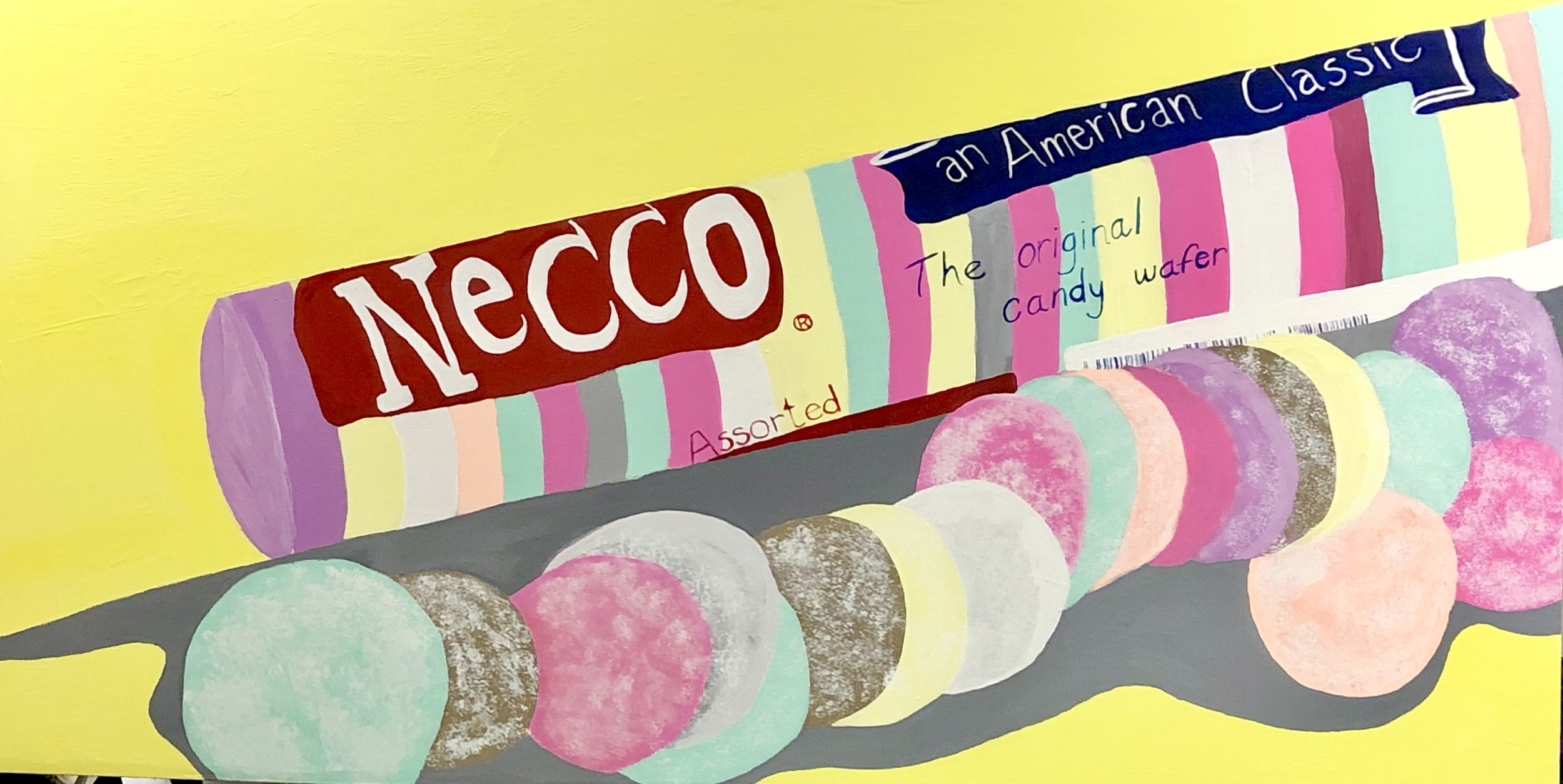 "CAMBRIDGE CANDY SERIES: NECCO WAFERS-ACRYLIC-70"" X 36"" - 2019"