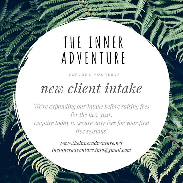 We're taking new clients! Before we raise our fees in 2018, we are expanding our intake! If you commence your therapeutic adventure with us before the end of December, we're thrilled to offer you continued 2017 rates up to five sessions into the new year! This includes Skype-based sessions 😊