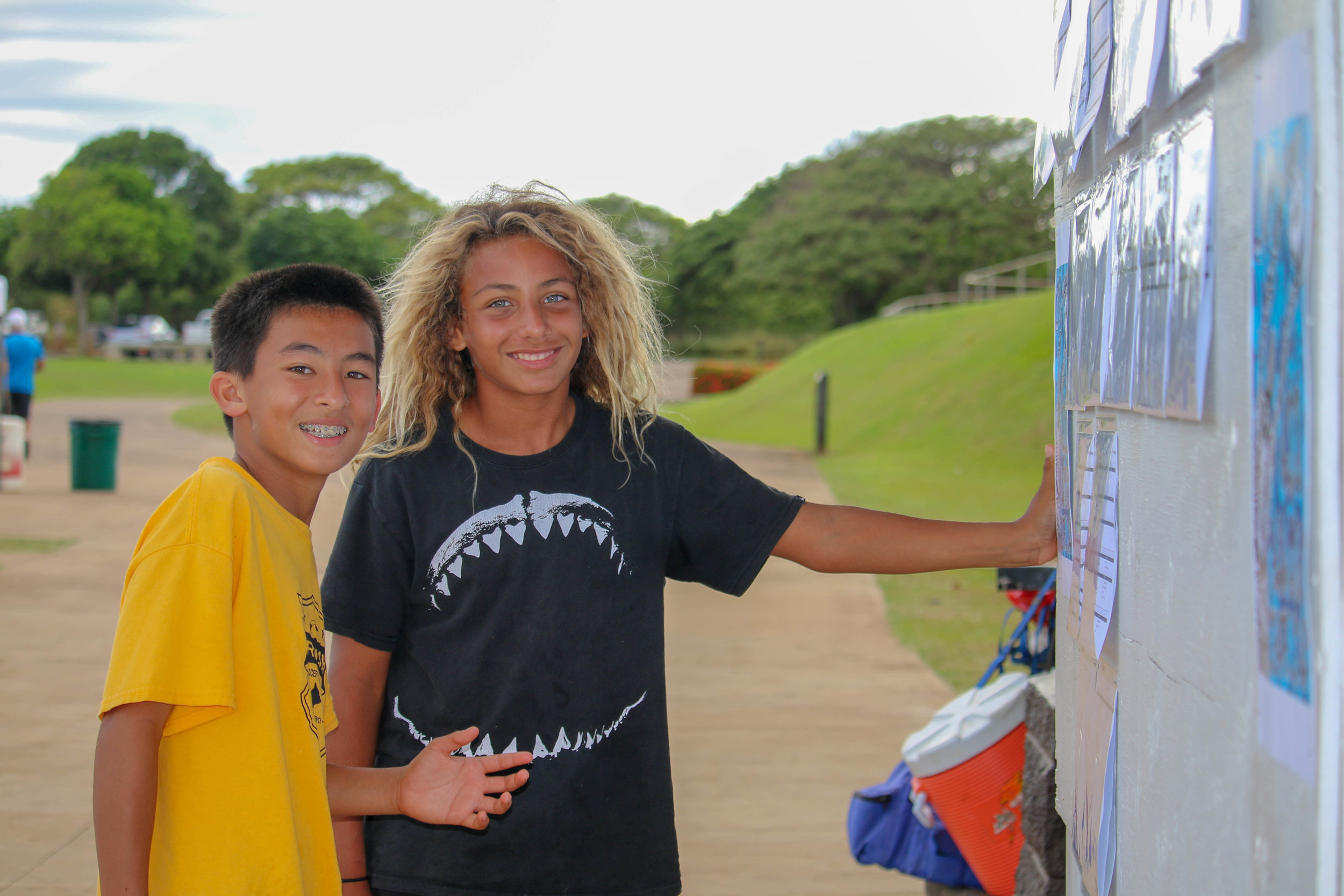 Big Island players checking the scores and standings at the US Club Soccer Hawai'i State Cup 17.