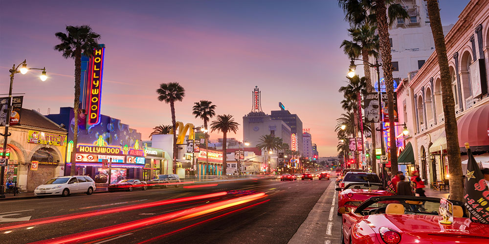 Beautiful shot of Hollywood Boulevard
