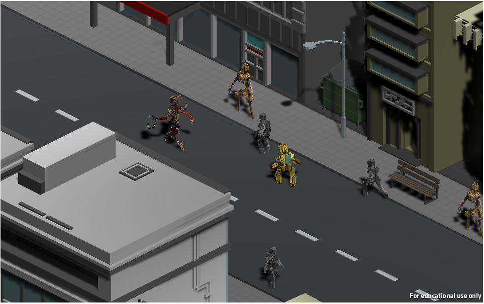 The stealth part of the brute force mission where you are tailing the enemy robot.
