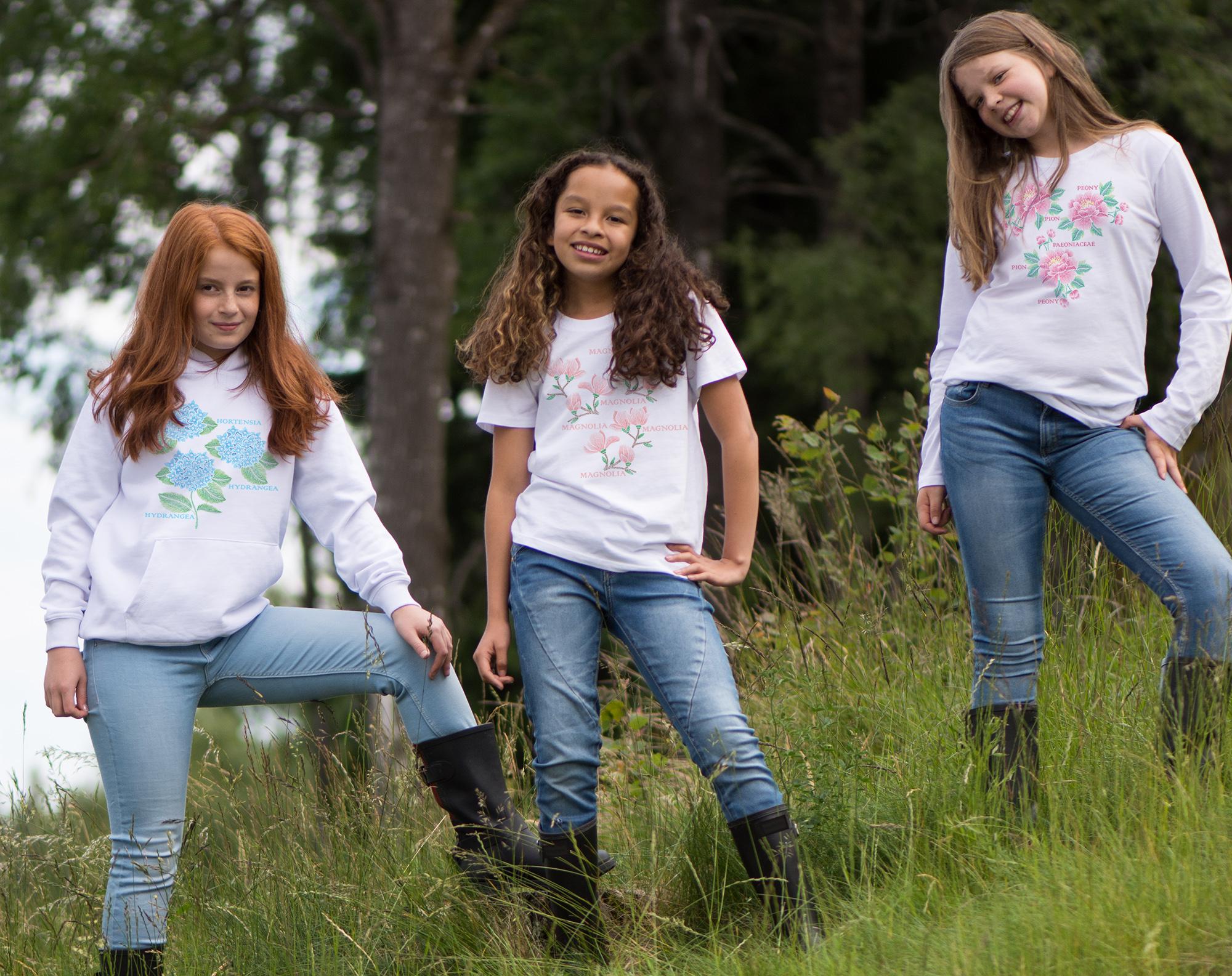 Broderitrycken finns även på barn t-shirts, tröjor och bodies i alla storlekar - från 50-158/164 cl