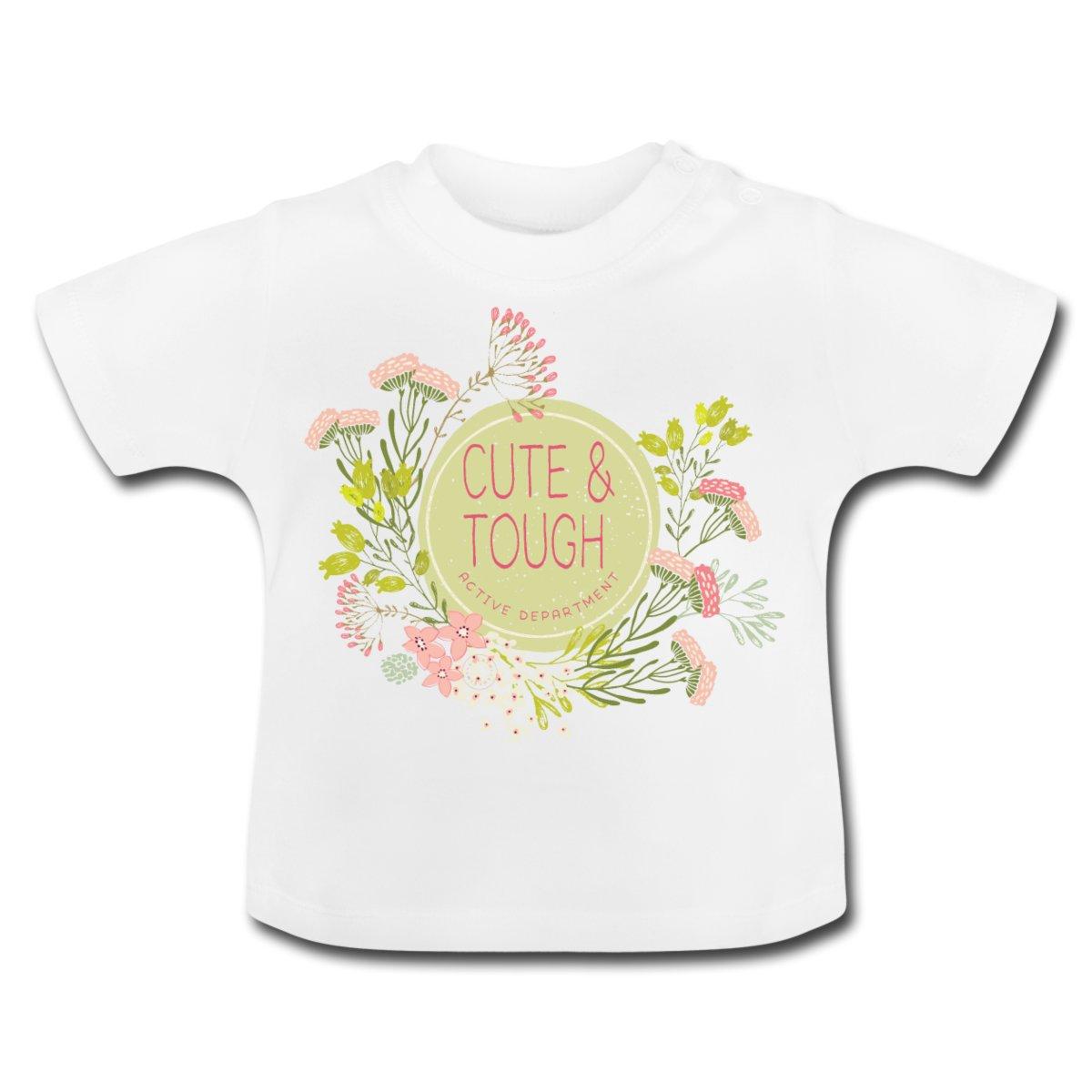 Baby t-shirt med korta ärmar. Tryckknappar av ett nickelfritt material på vänster axel.