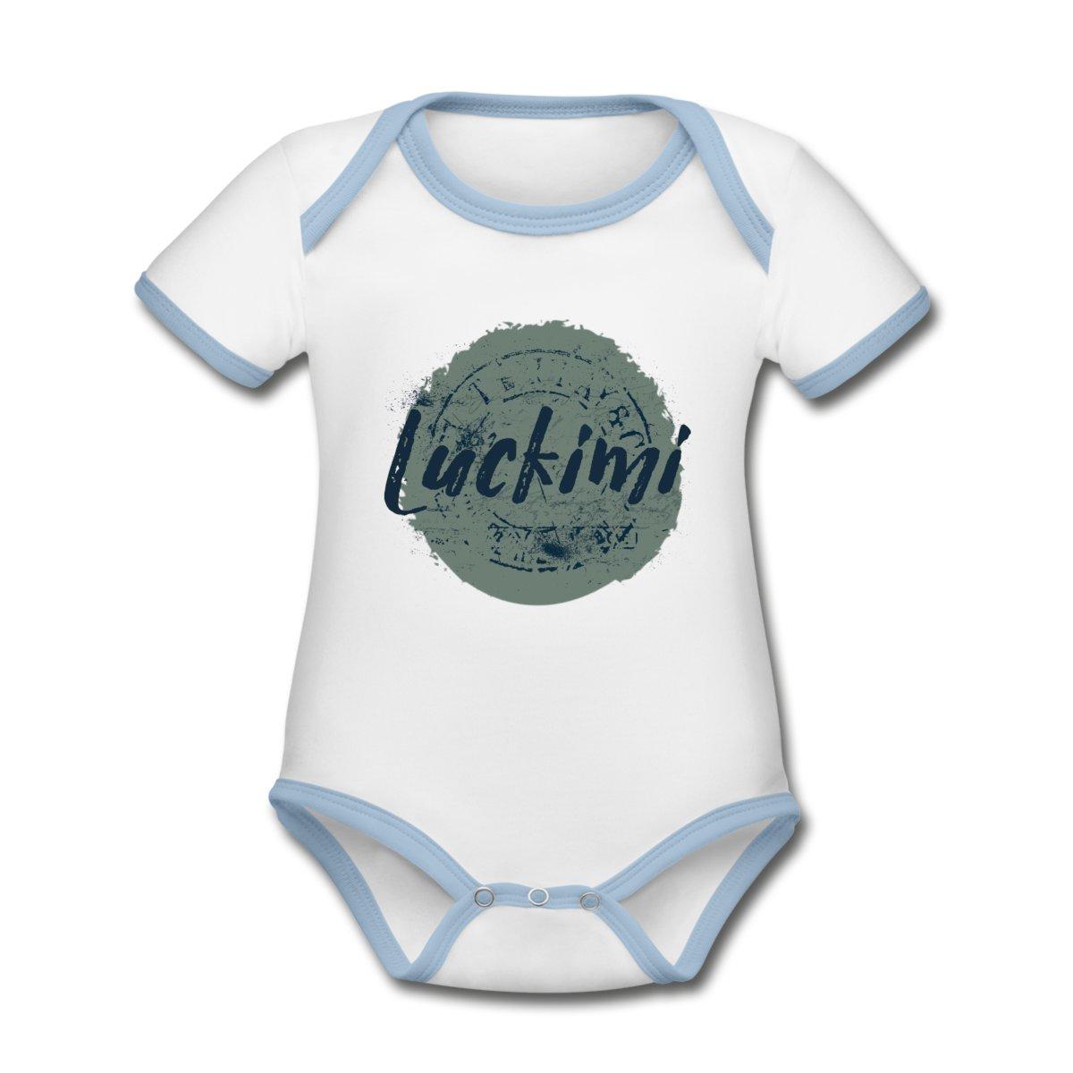 Jättefin babybody med kontrasterande band i ljusblått. Luckimis logo tryckt på bröstet. Tyget är av ekologisk bomull.