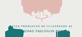 Detta emblem påvisar produkter tillverkade av ekologisk bomull