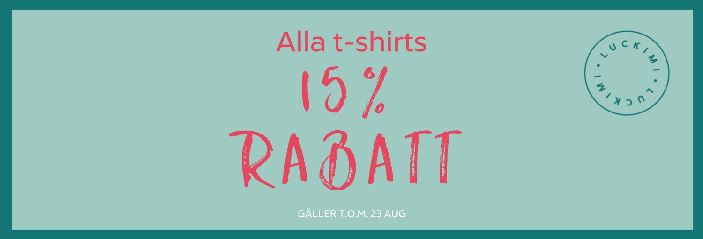 15 % rabatt för dam, barn och herr kläder. Gäller t.o.m. 23 aug 2018. Luckimi
