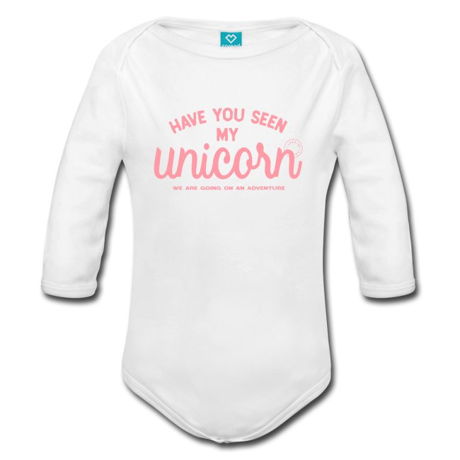 Långärmad babybody med tryck Unicorn. Luckimi @luckimibrand