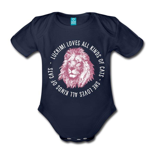 Marinblå babybody i ekologisk bomull. Tryck med text och lejon.