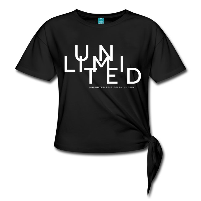 Short-sleeved lady t-shirt with knot On the side. PrInt Unlimited. Luckimi @luckimibrand