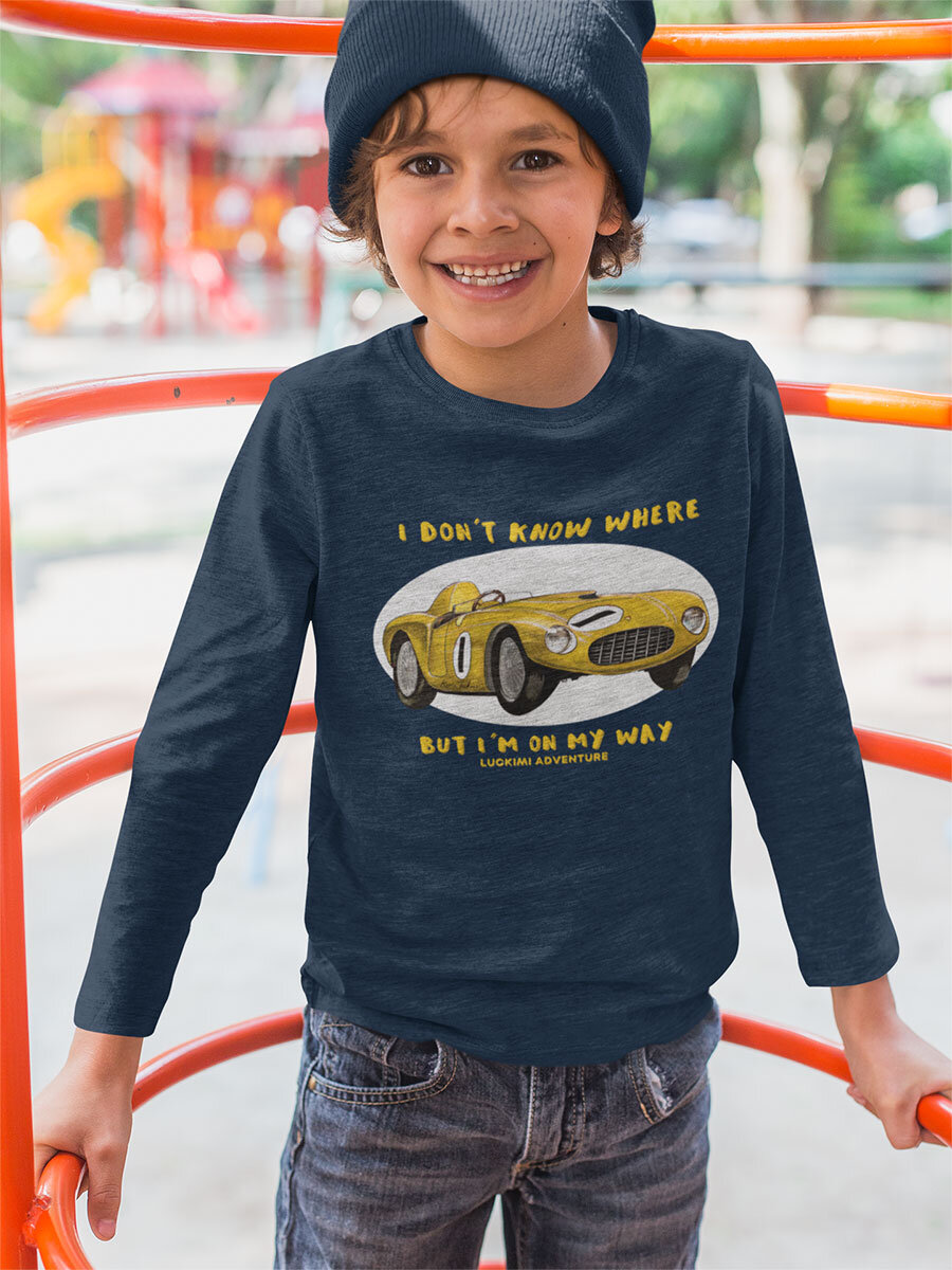 Longarmed dark blue kids t-shirt with quote and a cool car. @luckimibrand by Luckimi.