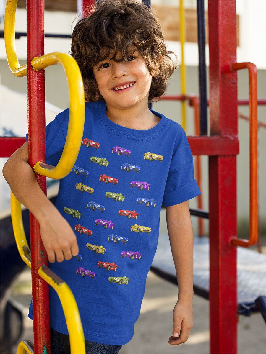 Boy with blue t-shirt. A print with a lot of cool cars. Luckimi @luckimibrand